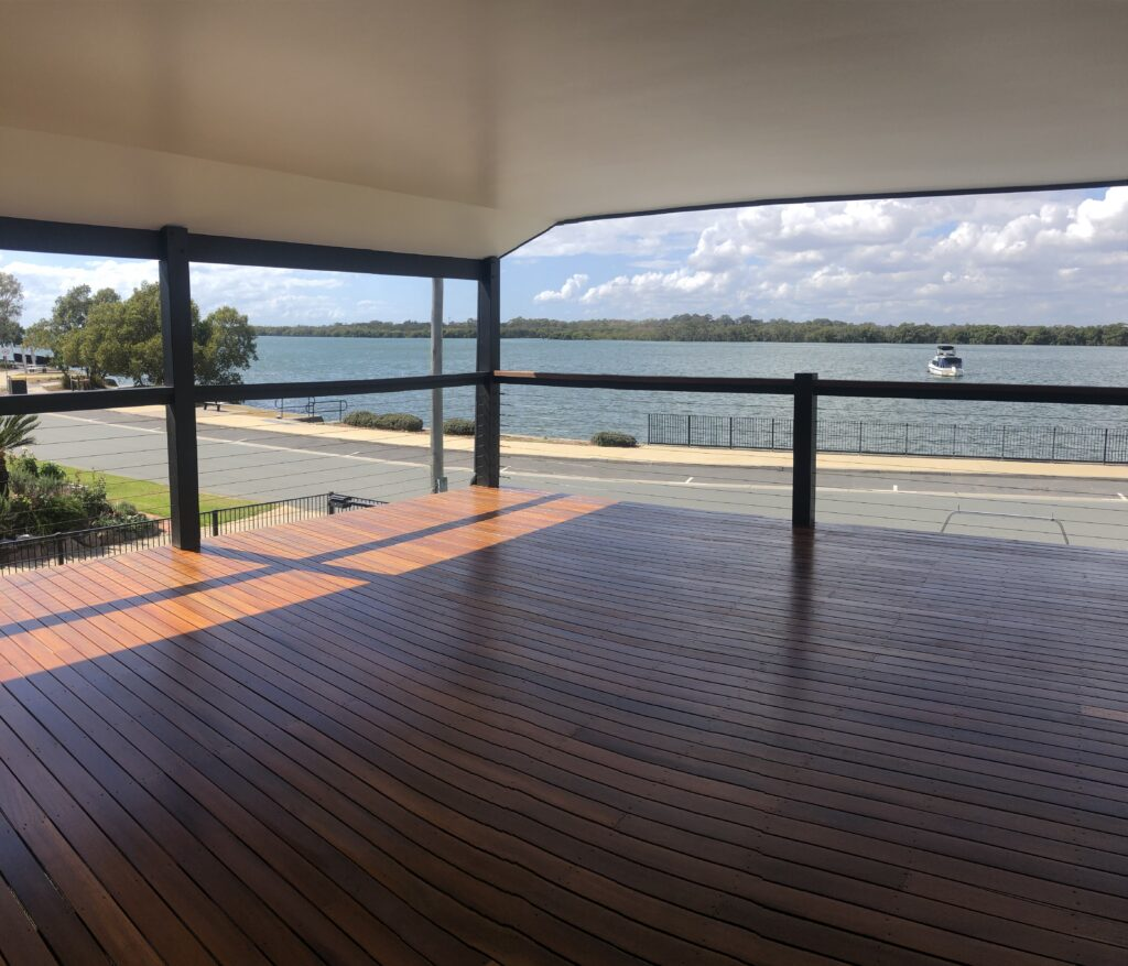 After Finished floor sanding timber deck in Griffen coating in decking oil Non-Toxic Floors Australia