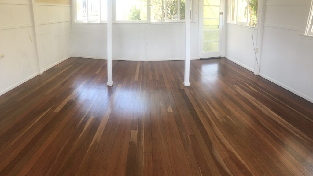 After floor sanding off black glue in Clayfield Non-Toxic Floors Australia