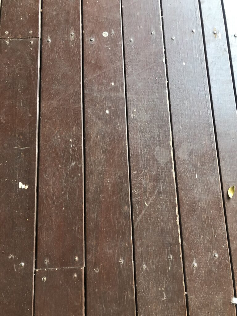 Before Rough sanded timber deck in Griffen coating in decking oil Non-Toxic Floors Australia