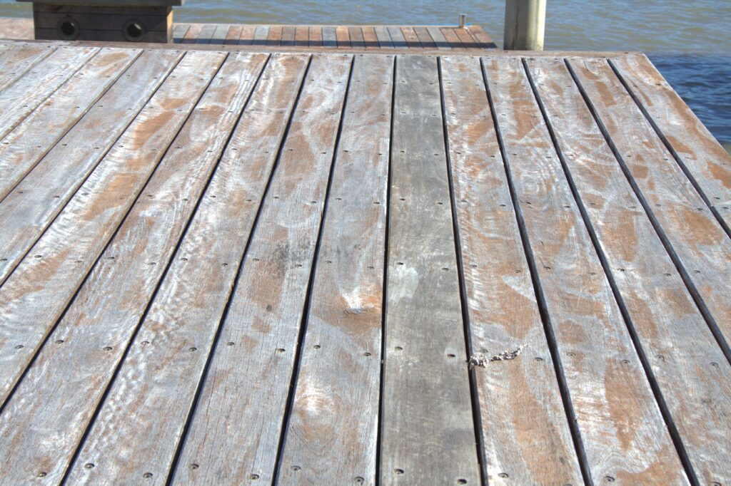 Before rough sanding timber deck in Brisbane coating in decking oil Non-Toxic Floors Australia